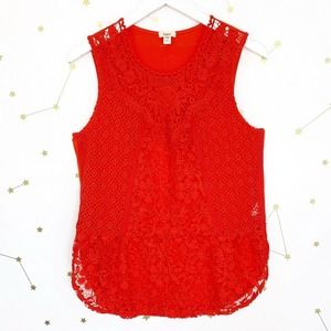 Anthro • Red Unlined Crochet Lace Gardenia Top